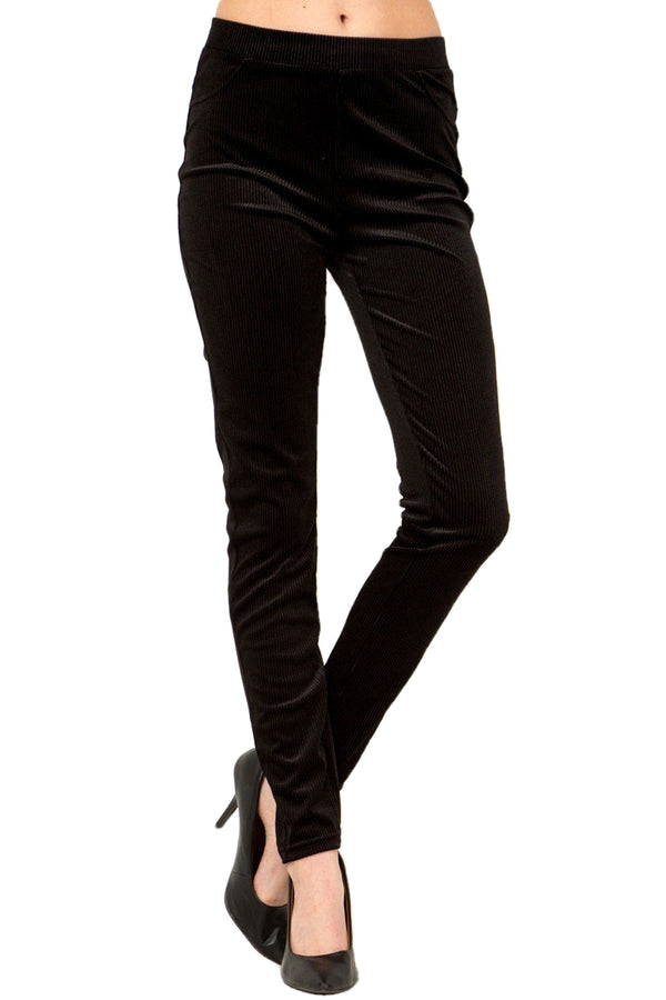 Women's Regular Solid Color Single Layer Corduroy Back Pocket Pants