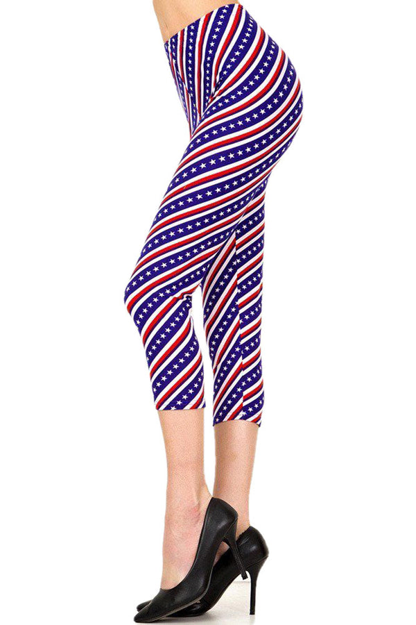 Women's Plus American Flag Diagonal Printed Cropped Capri Leggings