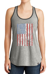 Women's American Flag Distressed Graphic New Era Heritage Blend Racerback Tank Tops for Regular and Plus - XS ~ 4XL