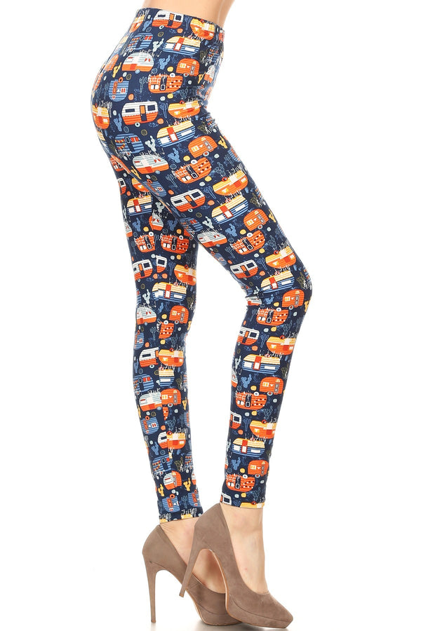 Women's 3 X 5X Campervan RV Pattern Printed Leggings - One Size / Orange