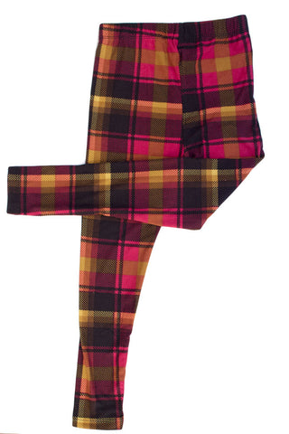 Kid's colorful Red Mustard Plaid Pattern Printed Leggings