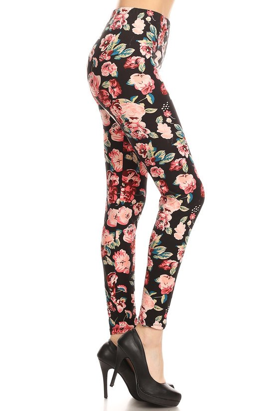 Women's Plus Pink Rose Floral Blossom Pattern Printed Leggings