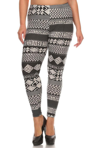 Women's Plus Tribal and Stripe Pattern Print Leggings - Black White - One Size / Black White