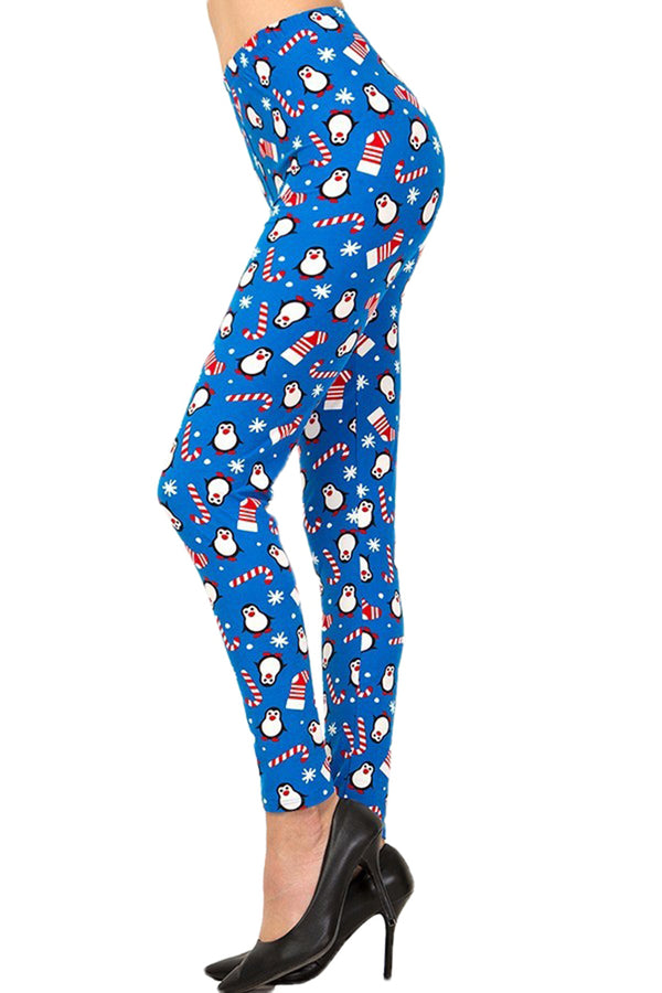 Women's Regular Christmas Cane Penguin Pattern Printed Leggings
