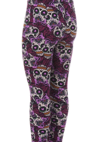 Kid's Purple Sugar Skull Ribbon Pattern Printed Leggings