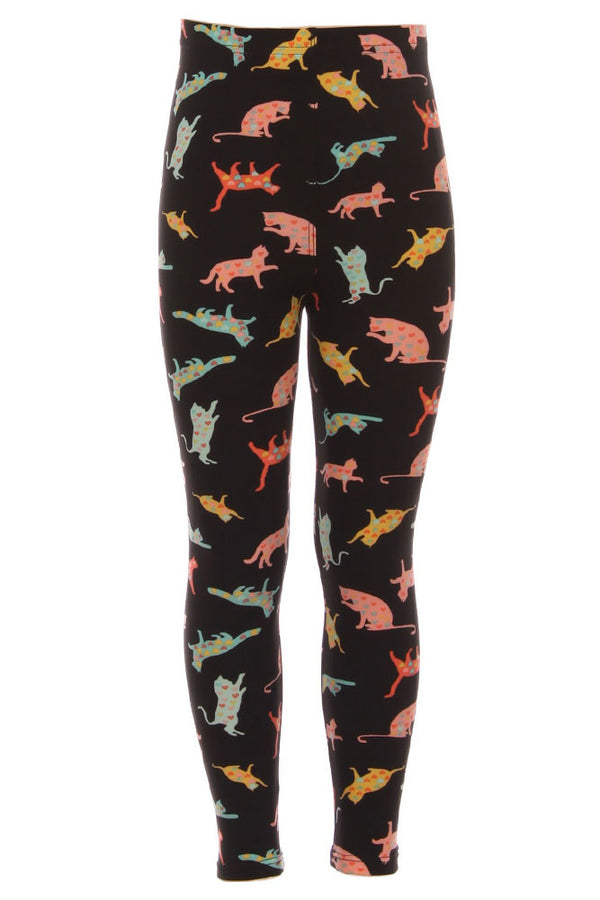 Kid's Playful Cats Pattern Printed Leggings