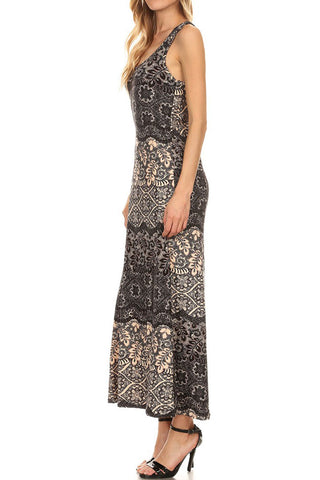 Women's Regular Sleeveless Racerback Print Maxi Dresses - Contrast Floral
