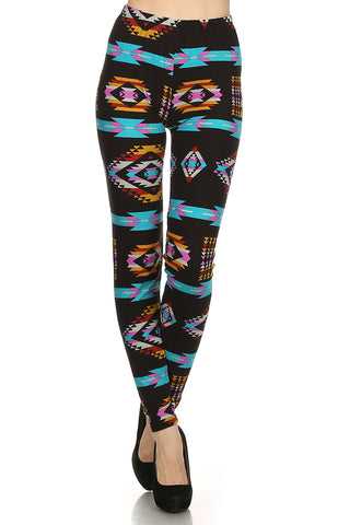 Women's Plus colorful Aztec Pattern Printed Leggings - Black Pink