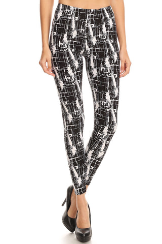 Women's Plus Abstract Faded Shape Pattern Printed Leggings