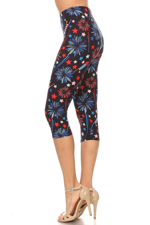 Womens Plus 4th of July Fireworks American Flag Printed Cropped Capri Legging