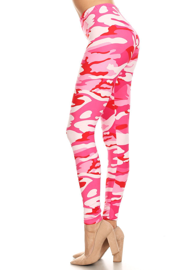 Women's Regular Pink Camouflage Army Pattern Printed Leggings