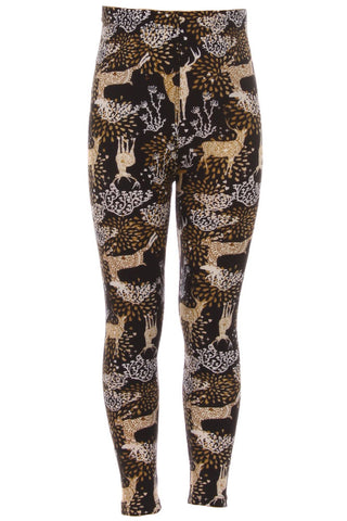 Girl's Brown Deer Pattern Printed Leggings