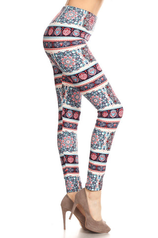 Women's Plus Border Tapestry Floral Printed Leggings