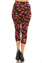 Women's Regular Red Flamingo Birds Printed Cropped Capri Leggings