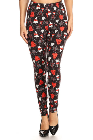 Women's Plus Red White Christmas Tree Pattern Printed Leggings