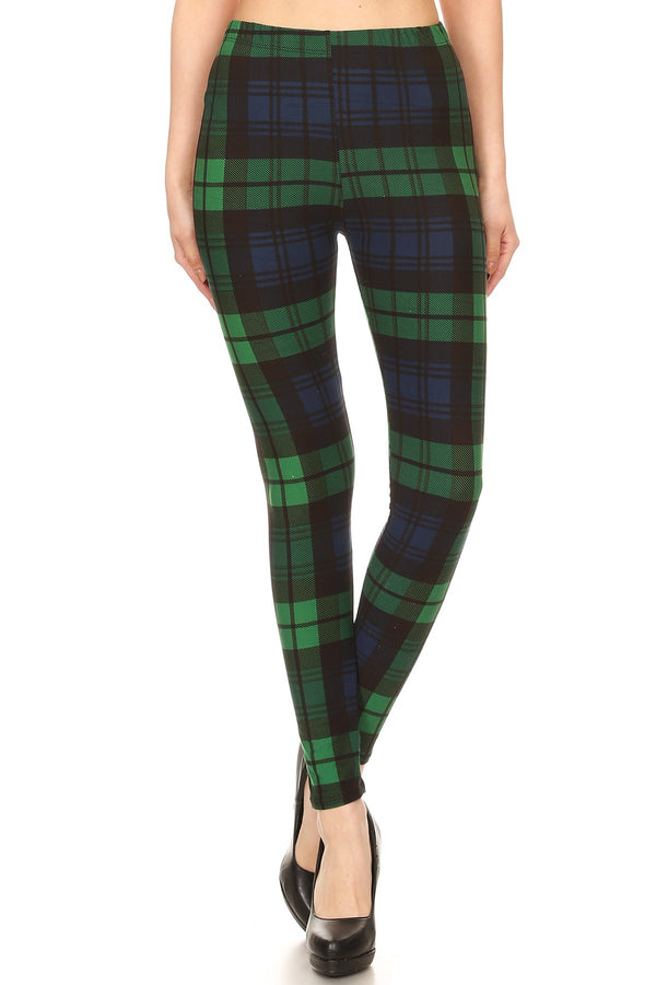 Women's Regular Green Black Plaid Pattern Printed Leggings