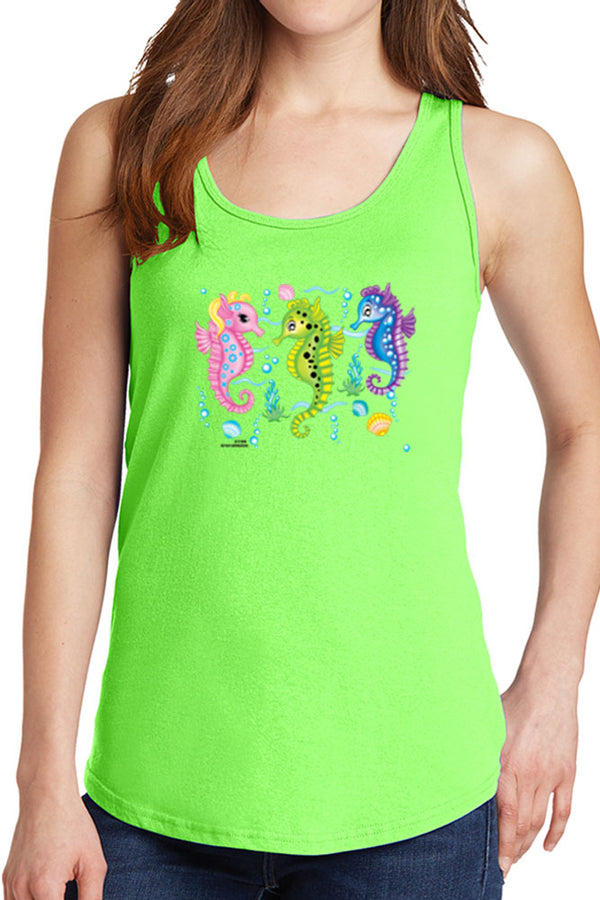 Women's Three Colorful Seahorses Core Cotton Tank Tops -XS~4XL