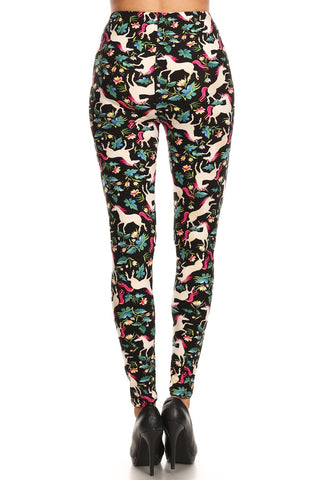 Women's 3X 5X Unicorn Horse Flower Pattern Printed Leggings