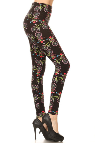 Women's Plus Bicycle Flower Pattern Printed Leggings