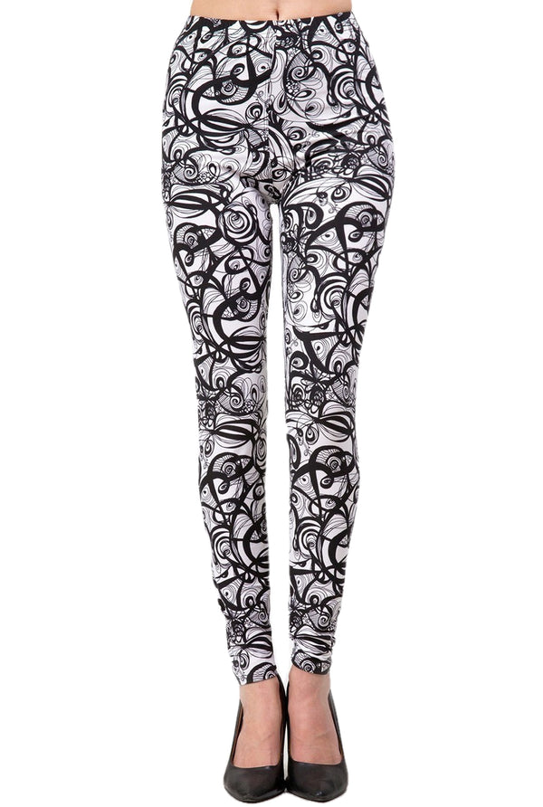 Women's Regular B&W Abstract Curve Pattern Printed Leggings