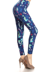 Women's Regular Mermaids & Fish Pattern Printed Leggings -Blue Red