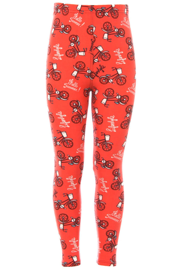 Kid's Bicycle in Coral Lifestyle Pattern Printed Leggings