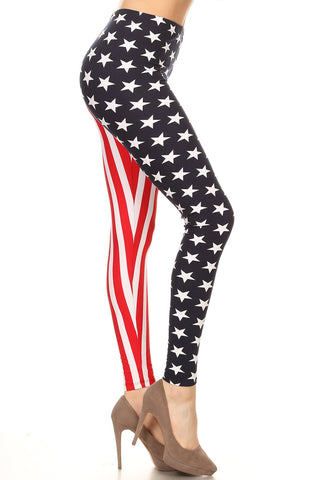 Women's Plus American Flag Star Stripe Pattern Printed Leggings