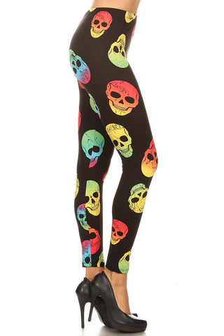 Women's Plus Colorful Skull Pattern Printed Leggings - Red Yellow
