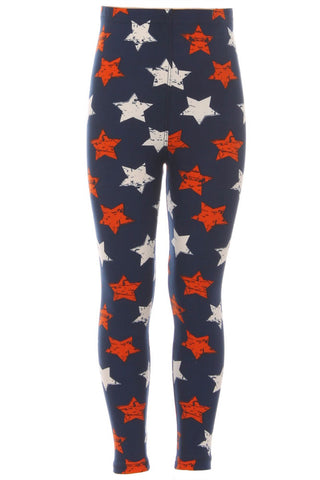 Kid's 4th of July Stars Distressed Pattern Printed Leggings