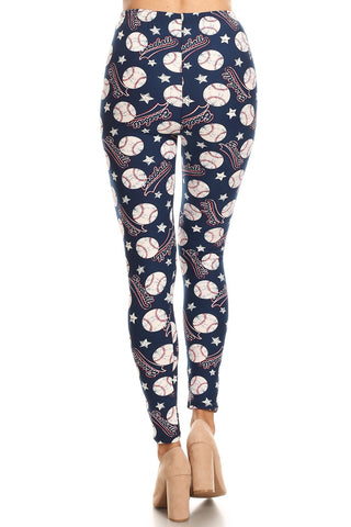 Women's 3 X 5X Baseball Ball Logo Pattern Printed Leggings