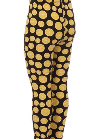 Kid's colorful Lemon Fruit Pattern Printed Leggings