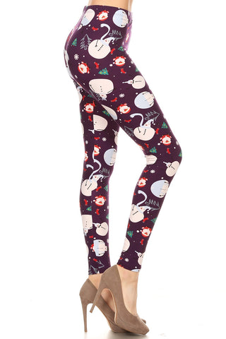 Women's Plus Santa Claus Snowman Pattern Printed Leggings