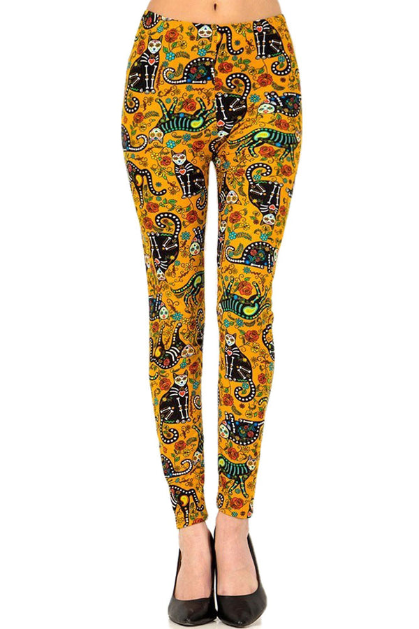 Women's Plus Cat Sugar Skull Pattern Printed Leggings