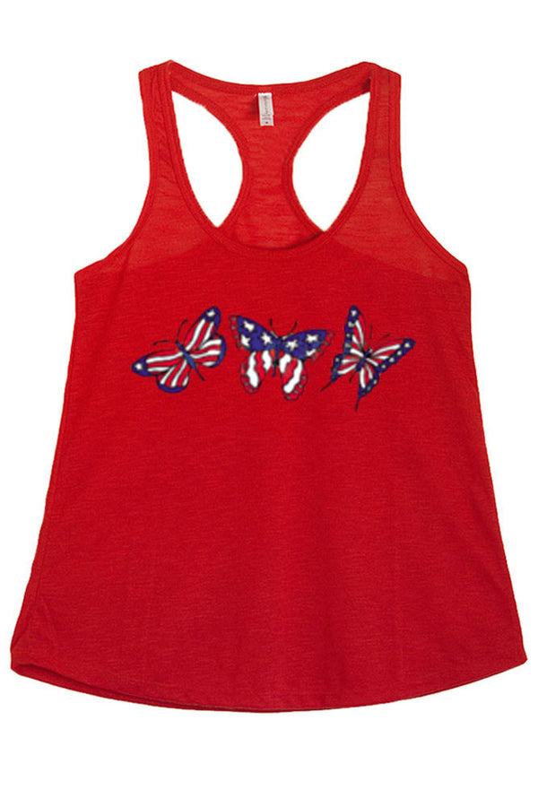 Women's American Flag Butterflies Graphic Print Polyester Tank Tops for Regular and PLUS - Small ~ 3XL