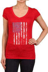 Women's Regular American Flag Distressed Vertical Graphic Print V-Neck Polyester Short Sleeve Shirts