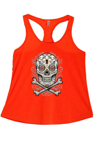 Women's Floral Skull Graphic Print Polyester Tank Tops for Regular and PLUS - Small ~ 3XL