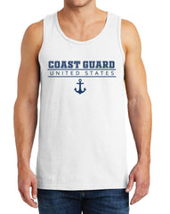 Men's United States Coast Guard Heavy Cotton Classic Fit Round Neck Short Sleeve Tank Top – S ~ 3XL