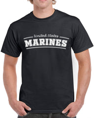 Men's United States Marines with Red Text Heavy Cotton Classic Fit Round Neck Short Sleeve T-Shirts – S ~ 3XL