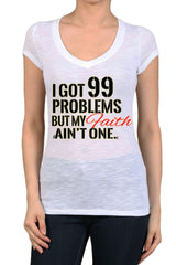 Women's Regular I Got 99 Problems Graphic Print V-Neck Polyester Short Sleeve Shirts