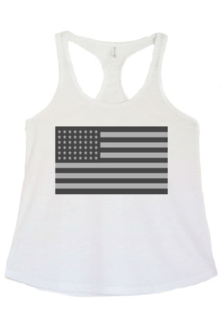 Women's Grey American Flag Graphic Print Polyester Tank Tops for Regular and PLUS - Small ~ 3XL