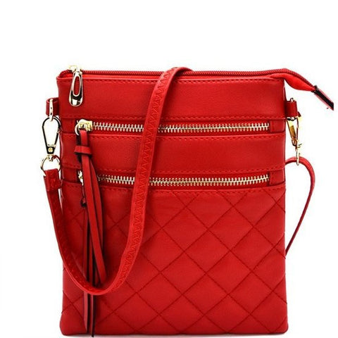 Designer Inspired Fashion Multi Pocket Diamond Stitched Leather Crossbody Bag