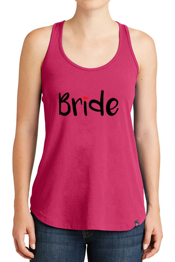 Women's Bride with Lip Design Graphic New Era Heritage Blend Racerback Tank Tops for Regular and Plus - XS ~ 4XL