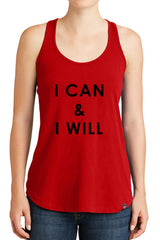Women's I Can and I Will Graphic New Era Heritage Blend Racerback Tank Tops for Regular and Plus - XS ~ 4XL