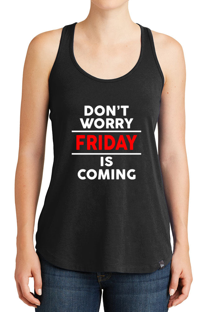 Women's Dont Worry Friday is Coming Graphic New Era Heritage Blend Racerback Tank Tops for Regular and Plus - XS ~ 4XL