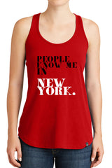 Women's People Know Me In New York Graphic New Era Heritage Blend Racerback Tank Tops for Regular and Plus - XS ~ 4XL