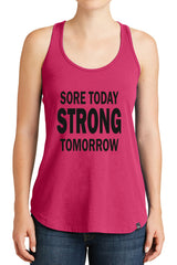 Women's Sore Today Strong Tomorrow Graphic New Era Heritage Blend Racerback Tank Tops for Regular and Plus - XS ~ 4XL
