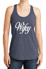 Women's Wifey Cursive Graphic New Era Heritage Blend Racerback Tank Tops for Regular and Plus - XS ~ 4XL