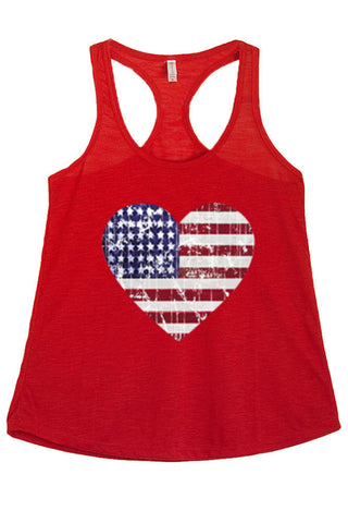 Women's American Flag Heart Distressed Graphic Print Polyester Tank Tops for Regular and PLUS - Small ~ 3XL