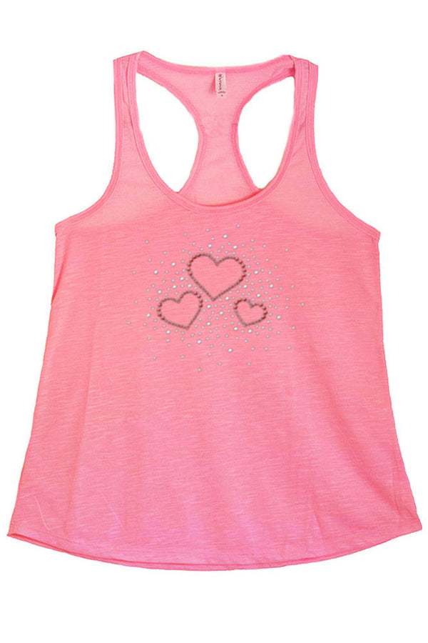 Women's Hearts Rhinestone Graphic Print Polyester Tank Tops for Regular and PLUS - Small ~ 3XL