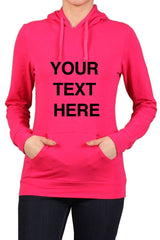 Create Your Own Text – Women's Kangaroo Pocket Hooded Long Sleeve Sweatshirts - Custom Text